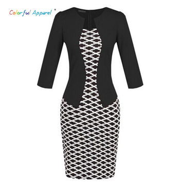 Colorful Apparel Fashion Women Retro Vintage Faux Two Piece Dress Elegant Lady Plaid Long Sleeve Pencil Dress Office Wear CA477