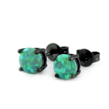 Green Opal & Black Metal Stud Earrings