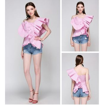 Runway Women's Blouses Sexy Off Shoulder Stripped Designer Ruffles Tops (4 Colors- XS - M)