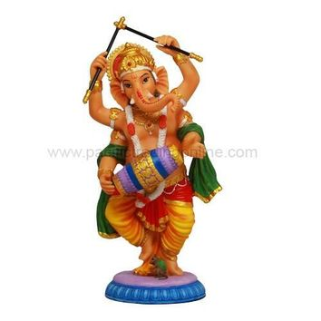 Dancing Ganesha Ganesh Playing the Drums Hindu Deity God Statue Color 9.25H
