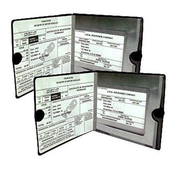 ESSENTIAL Car Auto Insurance Registration BLACK Document Holders, 2 Pack Set, Vinyl ID Holder