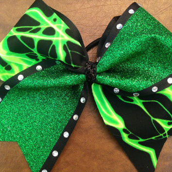 """3"""" Cheer Bow - green Glitter and Lightning"""