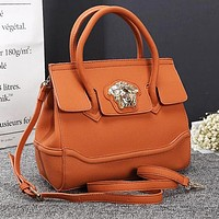 Versace New Popular Women Shopping Bag Leather Handbag Tote Shoulder Bag Crossbody Satchel Orange