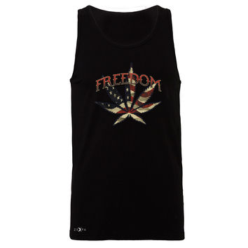 Zexpa Apparel™ Freedom Weed Legalize It Men's Jersey Tank Old America Flag Pattern Sleeveless