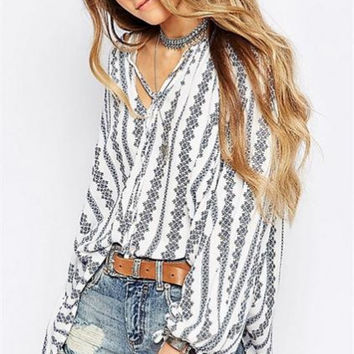 Vertical Striped Lantern Sleeve Loose Chiffon Shirt