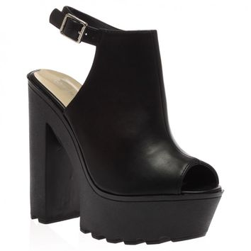 Harper Black PU High Heeled Cleated Sole Platforms