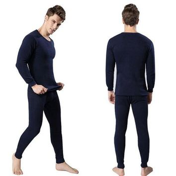 Winter Warm Men 2pcs Cotton Thermal Underwear Set Thicken Long Johns Tops Bottom Navy Blue Dark Gray Light Gray