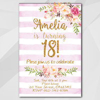 18th Birthday Invitation, Fuchsia Stripe Gold Invitation, Any age 13th 18th 21st 30th 40th 50, etsy Birthday invitation XA302fs
