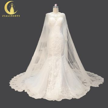 Rhine Real Sample Sexy Lace Appliques with Long Train  shawl Fashion Hot Sale Bridal Wedding Gown wedding dresses