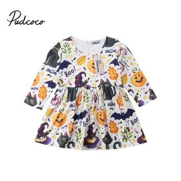 2018 Toddler Kids Baby Girls Halloween Pumpkin Ghost Dress Party Pageant Princess Long Sleeve Dress Fall Winter Clothing