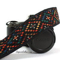 Tribal Diamonds Camera Strap, dSLR or SLR, Southwestern, Multicolor