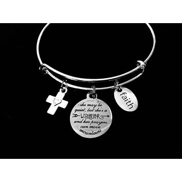 Inspirational Expandable Charm Bracelet Warrior Silver Adjustable Bangle One Size Fits All Gift She Can Move Mountains Faith Cross