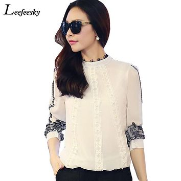Women Tops And Blouses 2017 Long Sleeve Lace Crochet Pacthwork Chiffon Blouse Shirt White Korean Fashion Clothing Office Shirts