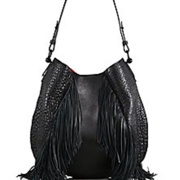 Christian Louboutin - Lucky L Fringed Pebbled Leather Hobo Bag - Saks Fifth Avenue Mobile