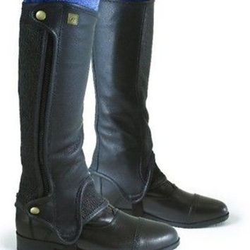 "NEW Ovation Women's Precision Fit Half Chaps Black Leather C15"" H 19"" 467583"