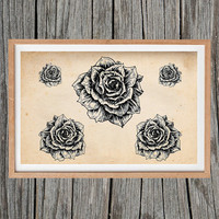 Vintage Roses Print Antique Poster Wall Art