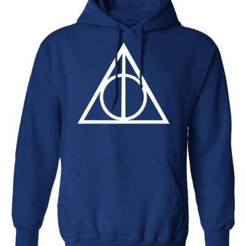 Harry Potter Triangle INSPIRED Deathly hallow PRINTED TOP HOODIE PULLOVER JUMPER - BLUE