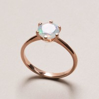 Opal Rose Gold Ring - Diamond Cut