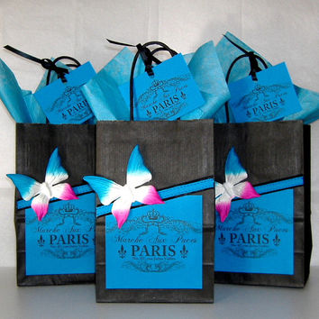 French Paris Market Black and Blue Gift Bags Set of 3