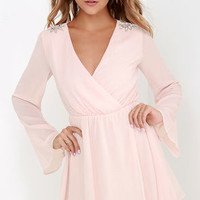 It's a Celebration Blush Pink Beaded Wrap Dress