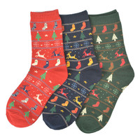 Christmas Symbols Printed Socks