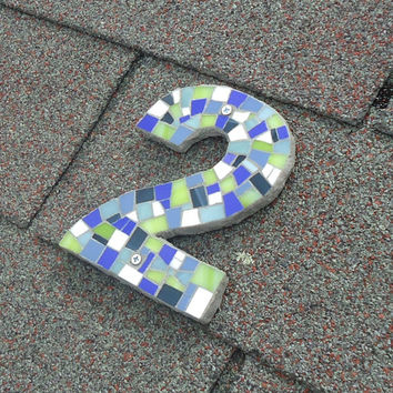 Custom Mosaic House Number in Green, Blues, White // Outdoor Number // Modern House Number
