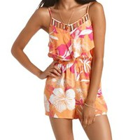 Orange Combo Floral Print Caged Flounce Romper by Charlotte Russe