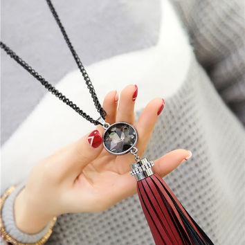 Trendy Leather Red Fashion Runway Tassel Long Chain Necklace & Pendants Gift Jewelry