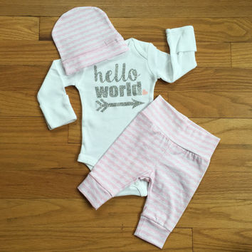 Newborn Baby coming home outfit - pink lace theme - hello world, baby shower gift, baby girl going home outfit new baby going home outfit