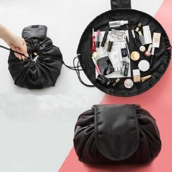 Women Travel Drawstring Cosmetic Bag Fashion Hook Loop Makeup Bag Organizer Make Up Case Storage Pouch Toiletry Beauty Kit Bag