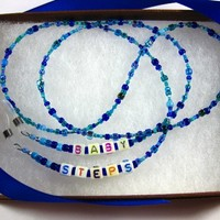 Beaded Eyewear Chain in Mixture of Blues with Alphabet Cubes