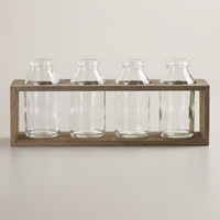 "4"" Bottle Vases with Wood Holder, Set of 4 - World Market"