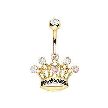 Gold Plated Princess Crown WildKlass Navel Ring