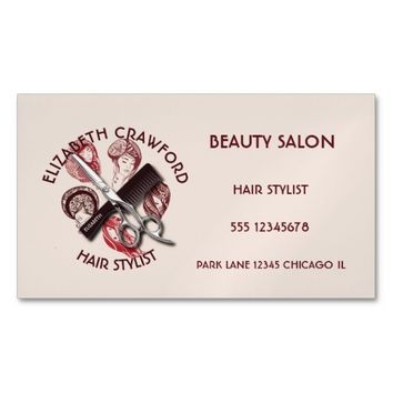 Hair Stylist Hairdresser Or Beauty Salon With Name Magnetic Business Card