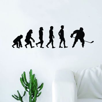 Hockey Evolution Quote Wall Decal Sticker Bedroom Living Room Art Vinyl Sports Ball Nursery Son Daughter Teen Kids Ice Funny