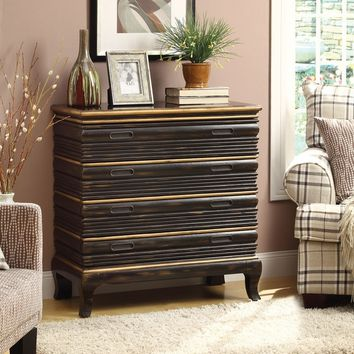 Acme 90086 Nelia collection antique gold and black finish wood with hand rubbed design drawer fronts bombay chest with drawers
