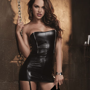 Faux Leather Strapless Zip Front Spanking Dress