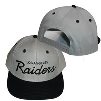 Los Angeles Raiders Grey / Black Plastic Snapback Adjustable Plastic Snap Back Hat / Cap