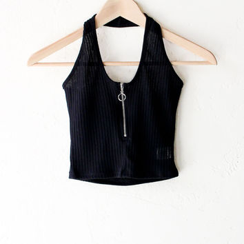 Zip It Halter Crop Top - Black