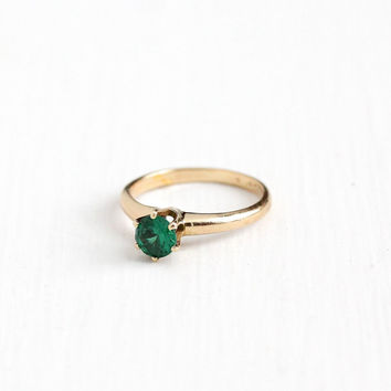 Vintage 14k Rosy Yellow Gold Created Green Spinel Ring - Late Art Deco 1940s Size 6 1/4 Simulated Emerald Solitaire Fine Jewelry