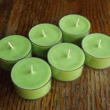 Fresh Cut Grass Soy Tea Light Candles - Set of 6 Scented Soy Tealights - Fresh Scented Candles - Outdoors Scented Candles - Summer Candles