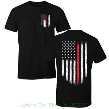 Thin Red Line Firefighter USA Flag T-Shirts - Men's Crew Neck Novelty Top Tee