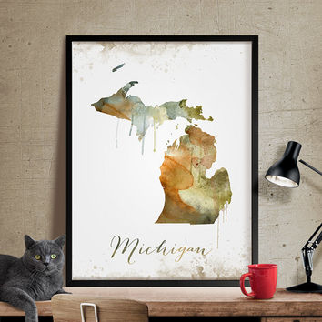 Michigan Wall Art, Art Print Michigan Decor, Michigan Map Art, Watercolor State, Watercolor Michigan Print ArtWork (301)