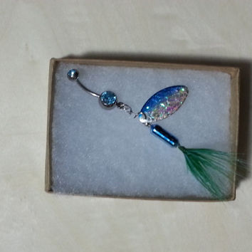 Blue Rooster Tail Fishing Lure Navel Belly Button Ring For Fishing Country Girl