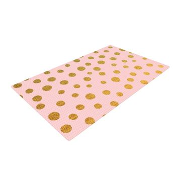 "Nika Martinez ""Golden Dots & Pink"" Blush Woven Area Rug - Outlet Item"