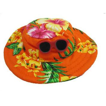 Hawaiian Dog Hat - Orange