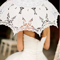 Old Fashion Battenburg Lace Umbrella Wedding Parasol for Bridal vintage lace parasol for Bridesmaid,Wedding gift