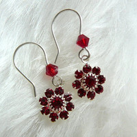 Sterling Silver earrings with Siam red Swarovski crystal - lightweight dangle earrings - Free shipping to CANADA and USA