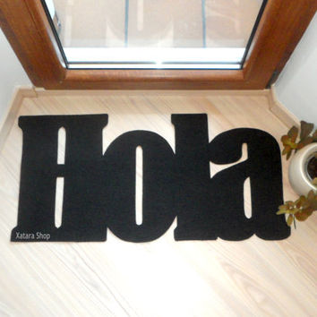Hola doormat. Hello in Spanish. Welcome mat. Personalized floor mat