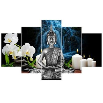 2017 JIE DO ART China Bamboo Thai Buddha Statue 5 Pcs Canvas Wall Painting Art Modern Home Decoration Wall Art Picture Home Deco